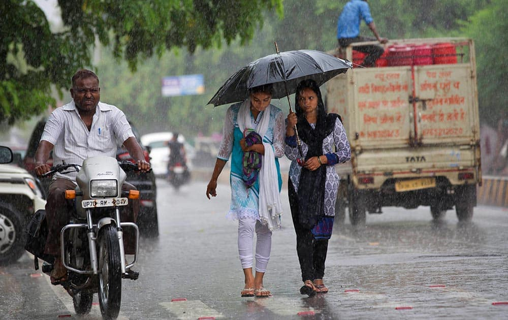 Women use umbrellas to stay dry as it rains in Allahabad.
