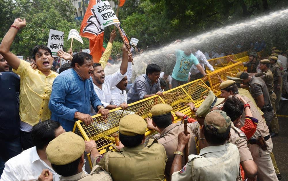 BJP workers during their protest against Arvind Kejriwal