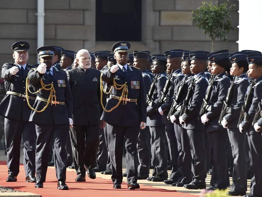 Narendra Modi at a welcome Ceremony in Pretoria