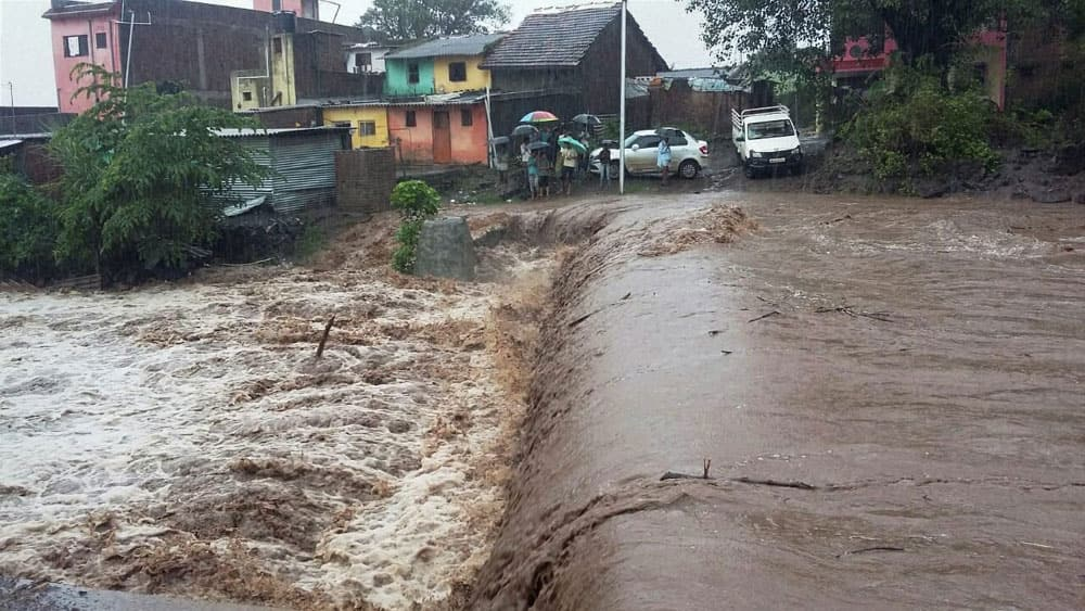 A flooded locality after heavy rains in Nashik.