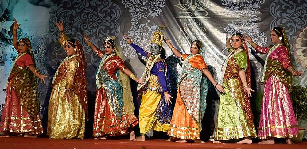 Artists performing during ISKCON Rathyatra festival at Maidan in Kolkata.