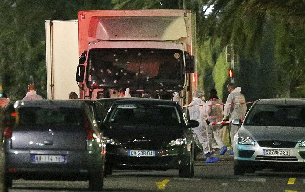 The truck seen near the site of an attack