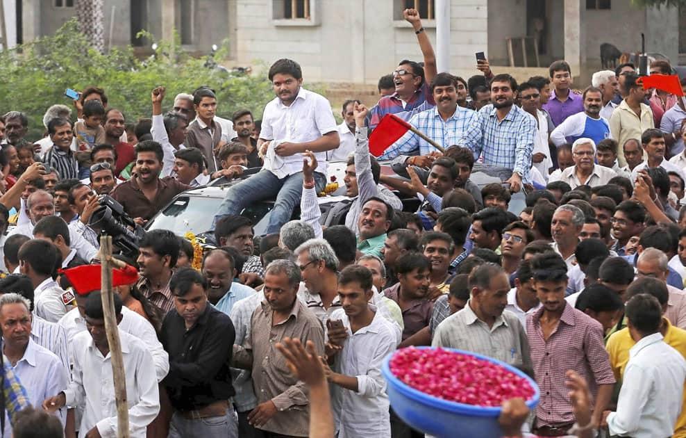 Hardik Patel at his home town Viramgam