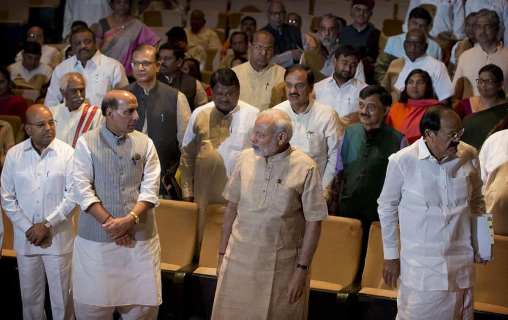 Home Minister Rajnath Singh, talks with Prime Minister Narendra Modi