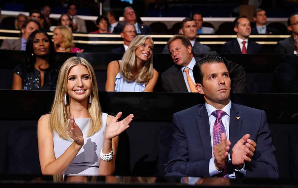 Republican Presidential Candidate Donald Trump's children Ivanka Trump and Donald Trump Jr.