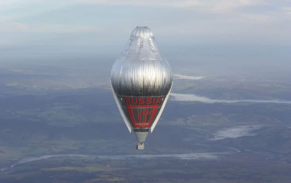 Russian adventurer Fedor Konyukhov floats at more than 6,000 meters