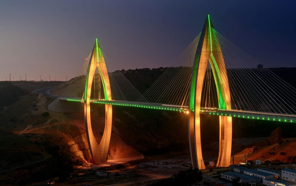 The Mohammed VI Bridge illuminates the desert