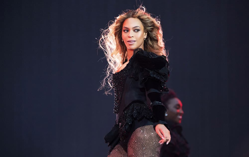 Beyonce performs during the Formation World Tour at Stade de France, in Paris.