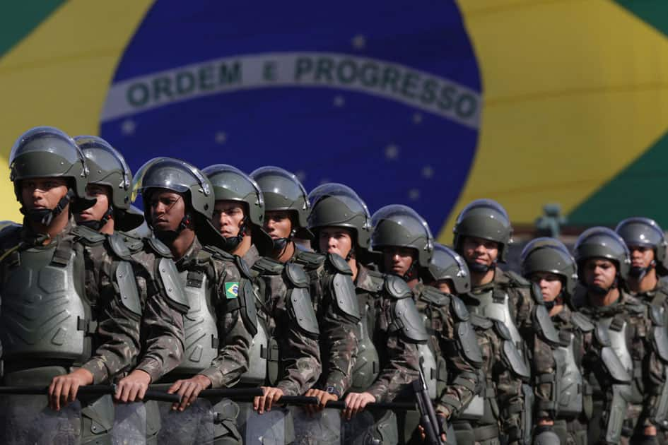 Brazilian Army soldiers take part in military exercise