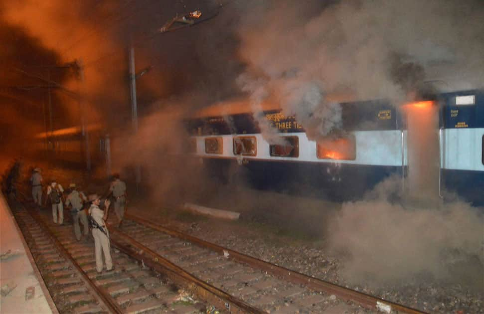 Angry protesters torch a South Bihar Express train