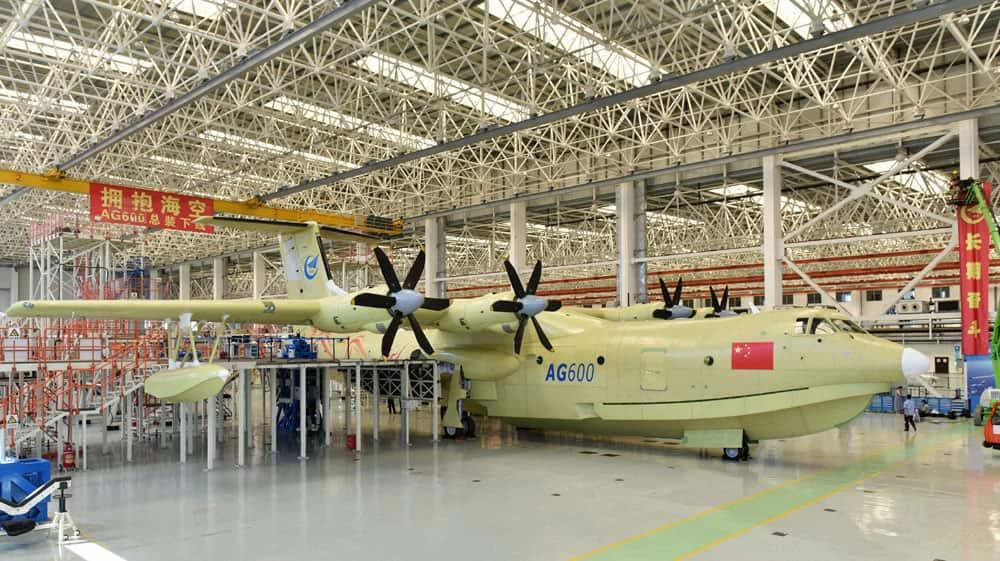 Amphibious aircraft AG600 rolls off