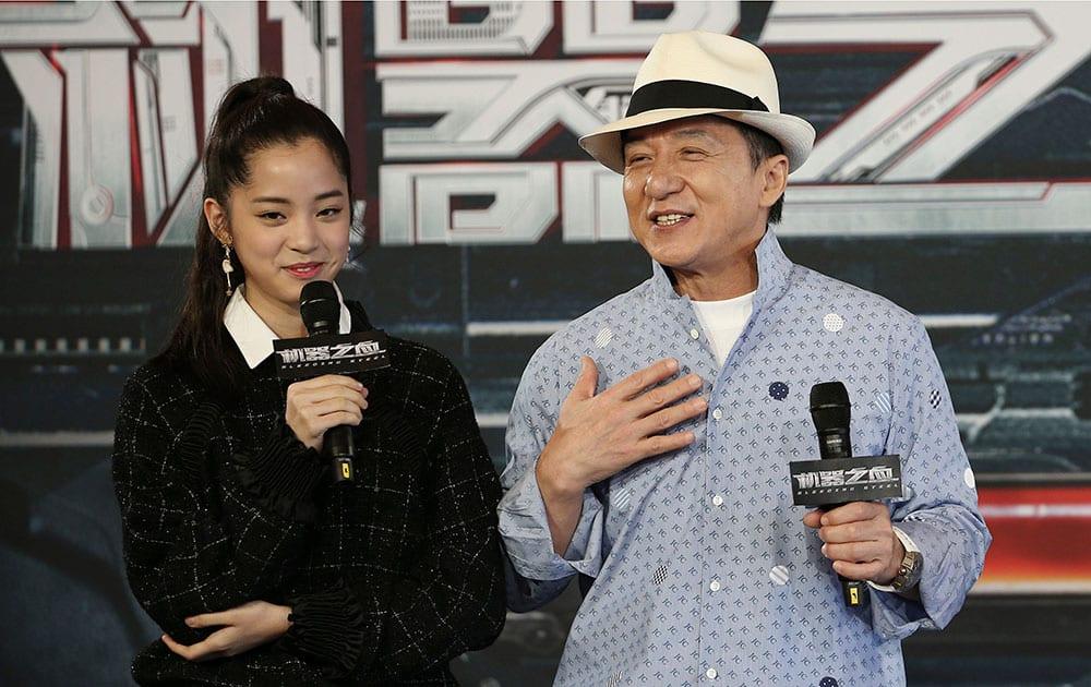 Jackie Chan and co-star Nana Ou-Yang speak to the media
