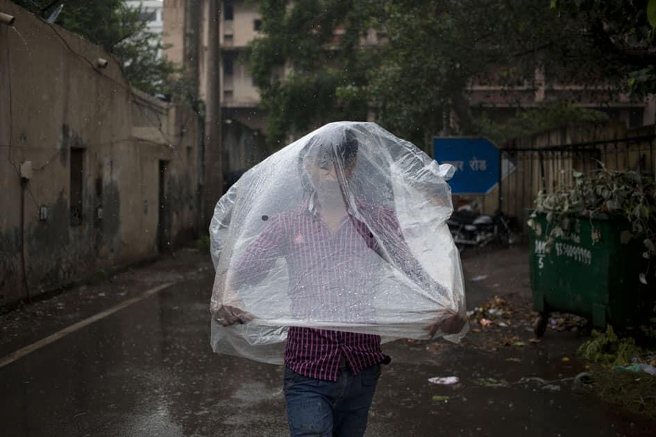 monsoon shower in New Delhi.