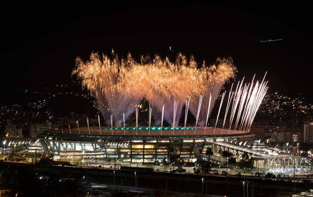Fireworks explode above the Maracana stadium