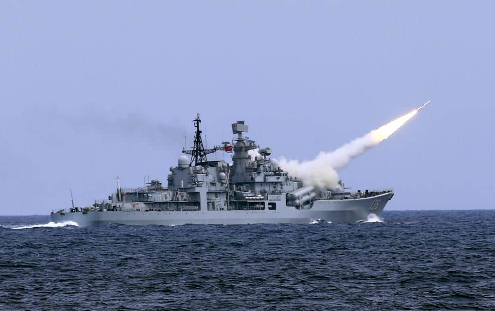 A missile is launched from the guided-missile destroyer Taizhou
