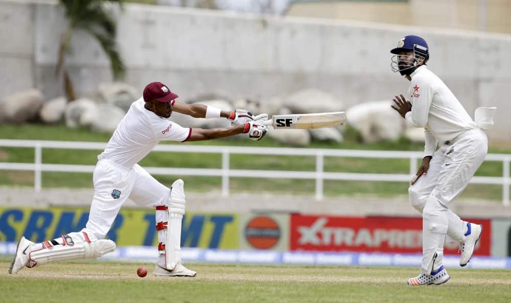 batsman Roston Chase plays a shot