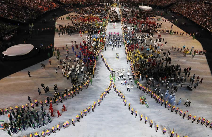 Athletes are introduced during the opening ceremony