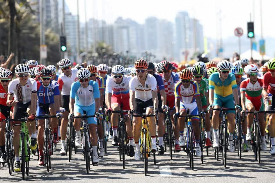 Tony Martin, front center, rides in the peloton