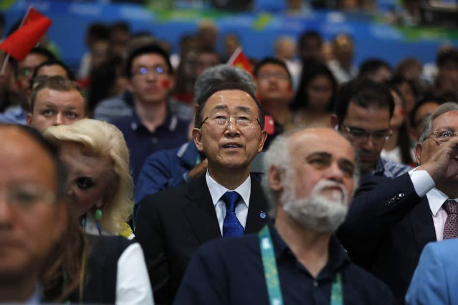 UN Secretary General Ban Ki-moon attends the Womens 10m Air Rifle final