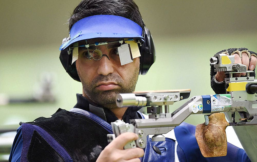 Indians shooter Abhinav Bindra competes in the Mens 10m Air Rifle qualifying round at Rio Olympics 2016
