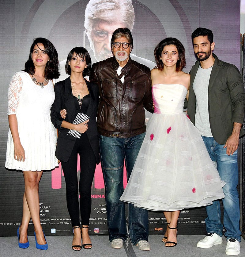 Bollywood actors Amitabh Bachchan,Taapsee Pannu, Kirti Kulhar and Actress –Singer- Songwriter Andrea Taring during the trailer launch of his upcoming Hindi film 'Pink'
