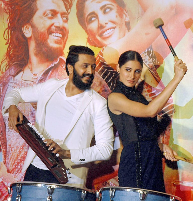 Bollywood actors Riteish Deshmukh and Nargis Fakhri during the tralior launch of their upcoming film Banjo