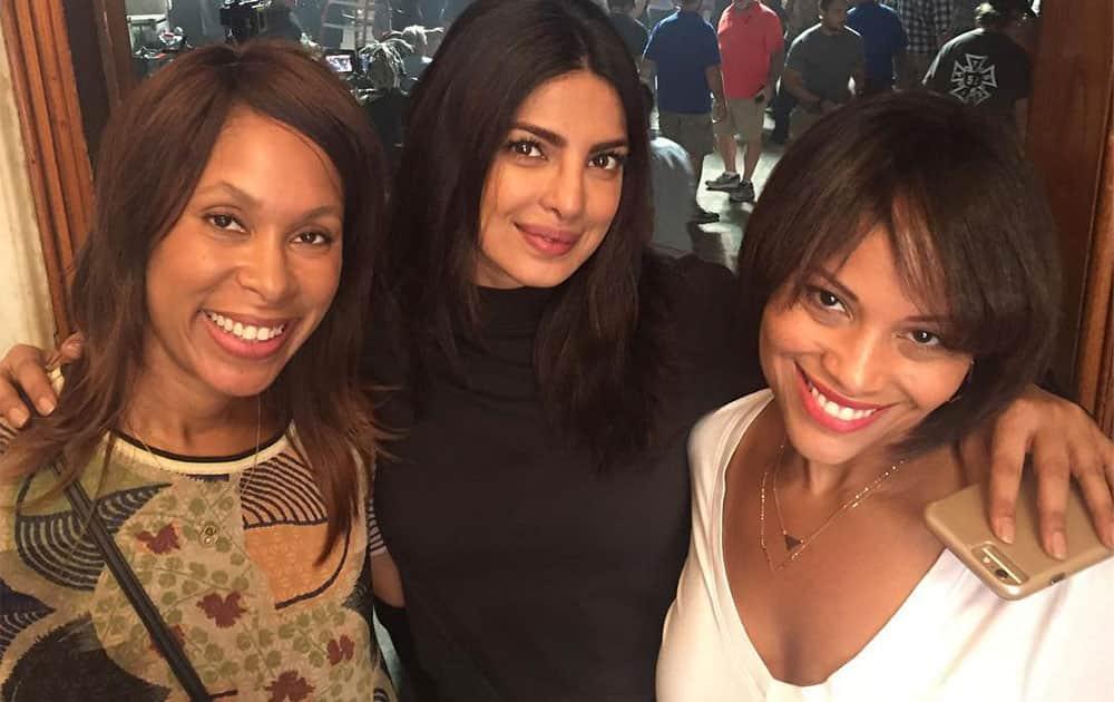 Priyanka chopra :- So glad u ladies visited set! Come by more often @channers314 @ayodeledavis #quantico @joshsafran