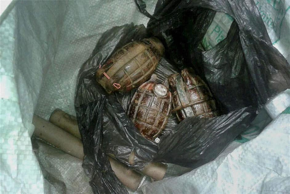 IED explosive and hand grenades