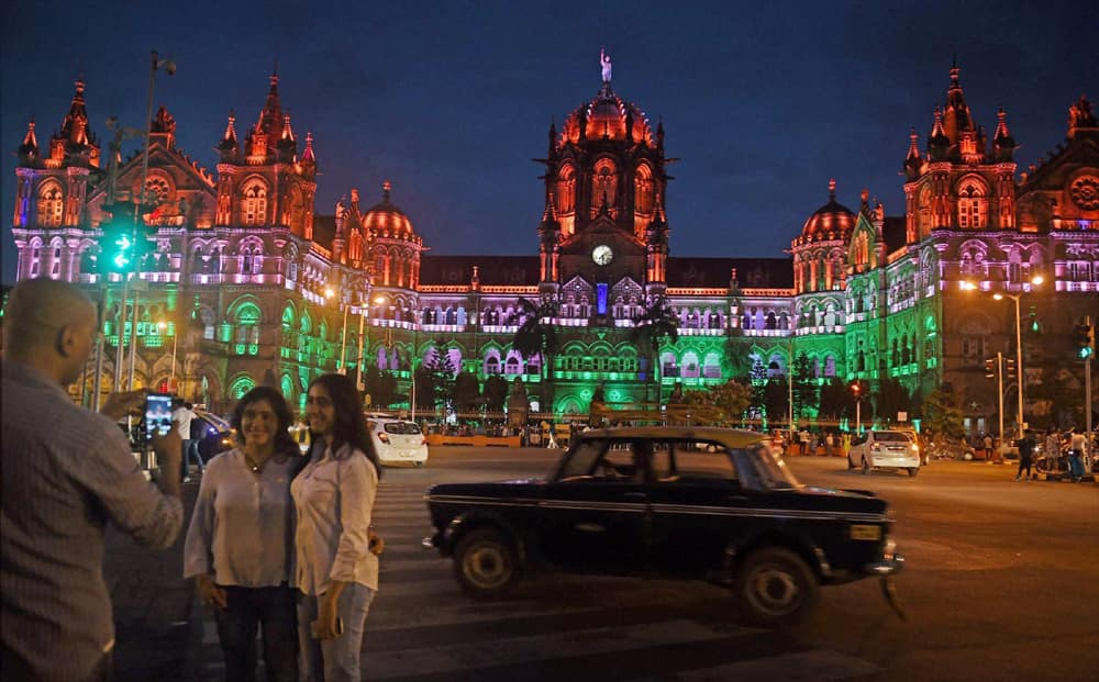 Chatrapati Shivaji terminus lit up in tricolours