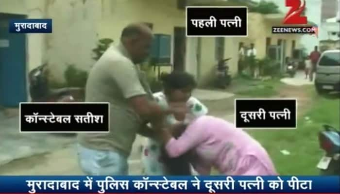 Slaps, kicks, abuses and what not! Police constable, his 1st wife brutally thrash 2nd wife - WATCH