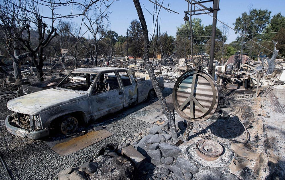 Charred remains are seen in the town of Lower Lake, Calif.