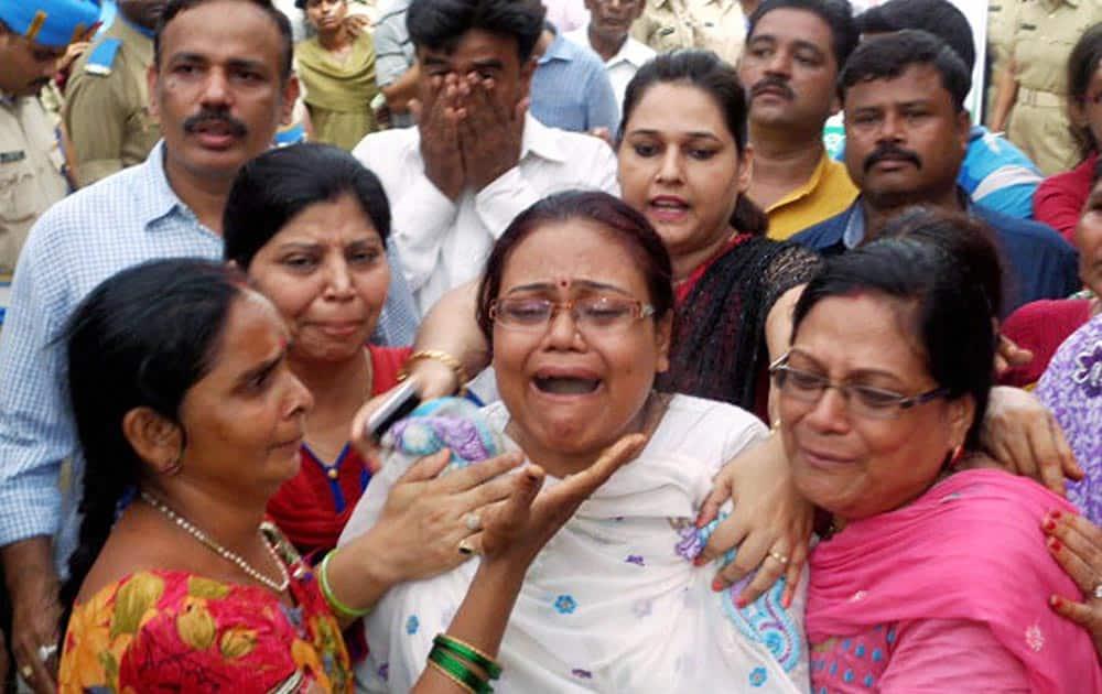 Relatives and family members of CRPF Commandant Pramod Kumar