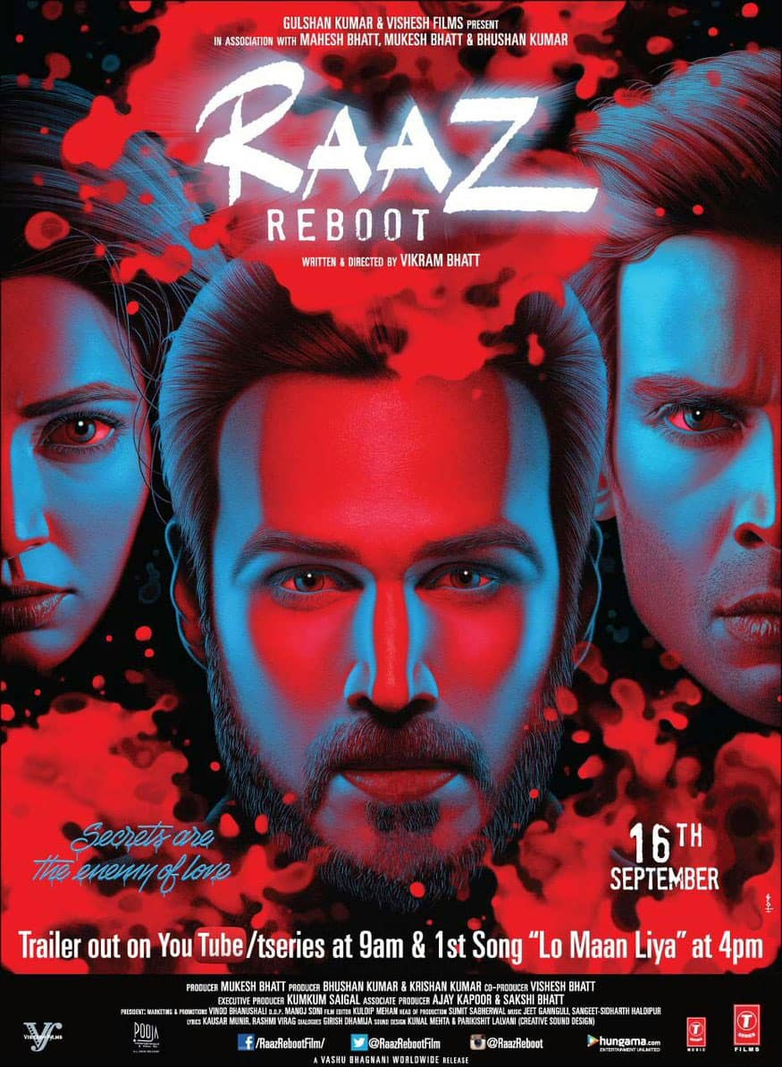 Brand new poster + captivating trailer of #RaazReboot. Trailer link: http://bit.ly/RaazReboot_OfficialTrailer … Check it out! - Twitter@taran_adarsh