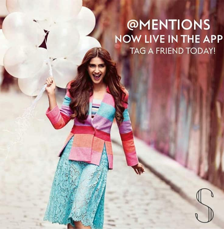 sonam kapoor :- You can now tag your friends in my App! Go check it out!