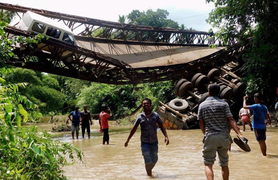 Bridge collapses in Ambassa