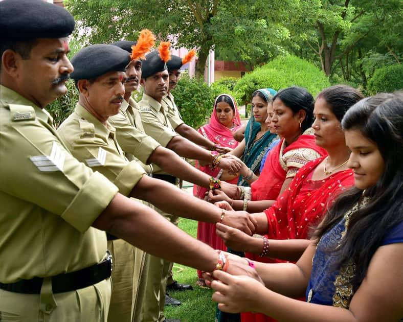 Soldiers celebrating Rakhi