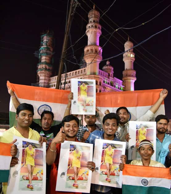 People celebrate P V Sindhu's victory