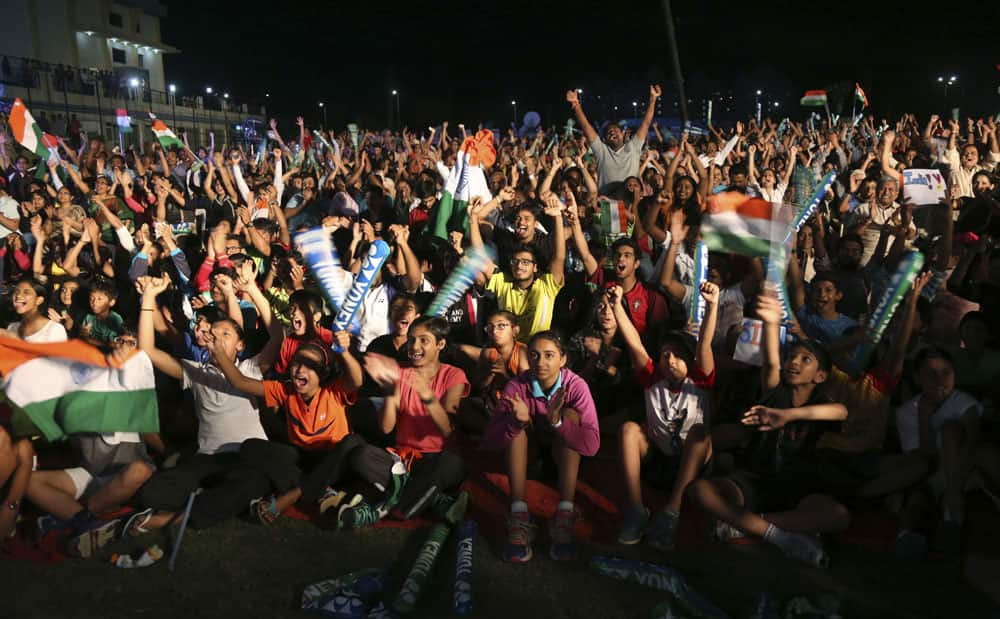 supporters of Pusarla Sindhu watch a live telecast