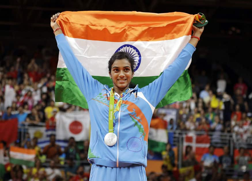India's V. Sindhu Pusarla wears her silver medal