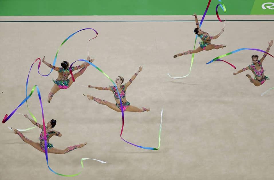 Team Russia performs during the rhythmic gymnastics