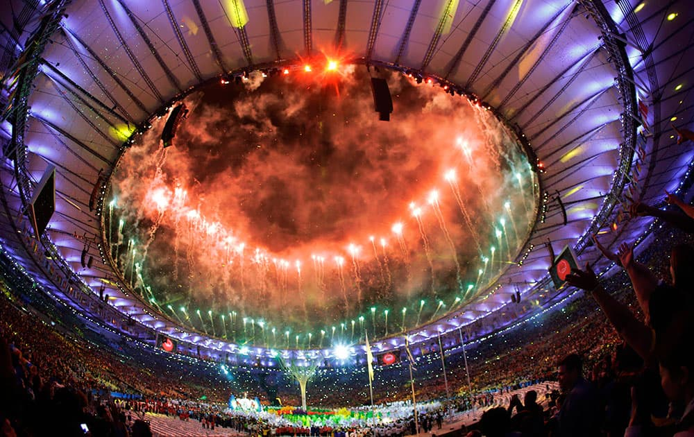 Pyrotechnics erupt during the closing ceremony