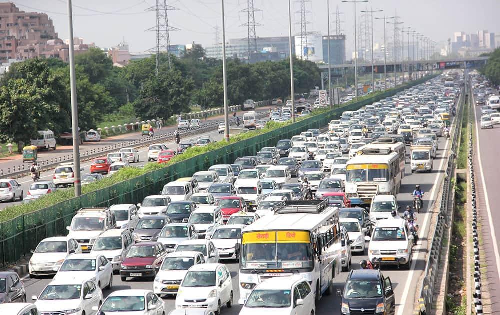 Heavy traffic jam on Delhi-Gurgaon Expressway near Atlas Chowk in Gurgaon