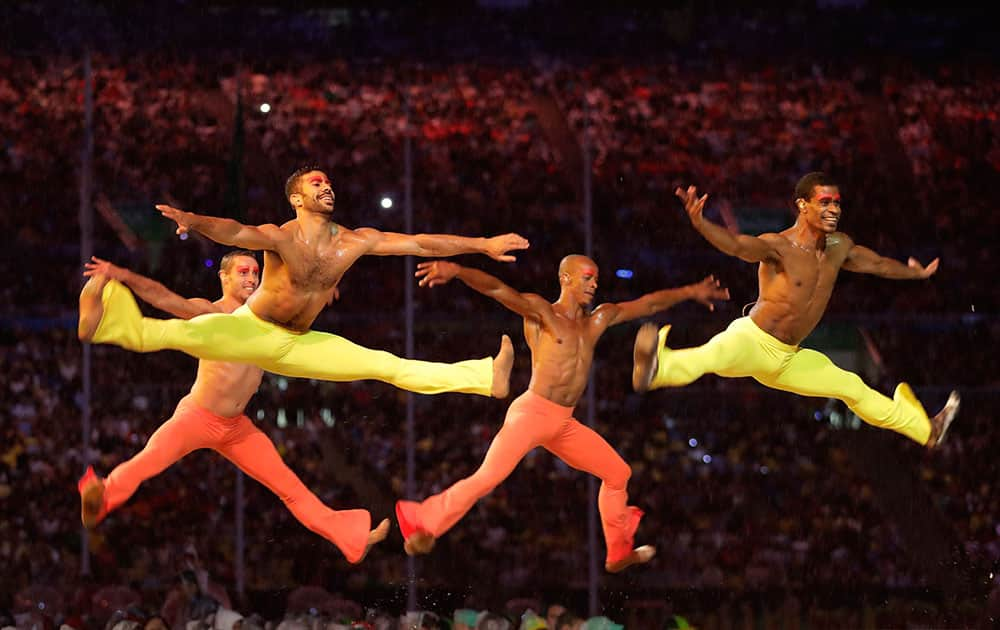 Dancers perform during the closing ceremony in the Maracana stadium at the 2016 Summer Olympics
