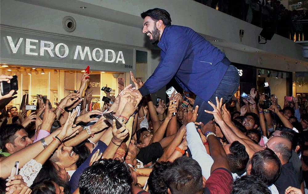 Ranveer Singh during the promotion of a toothpaste brand in Mumbai