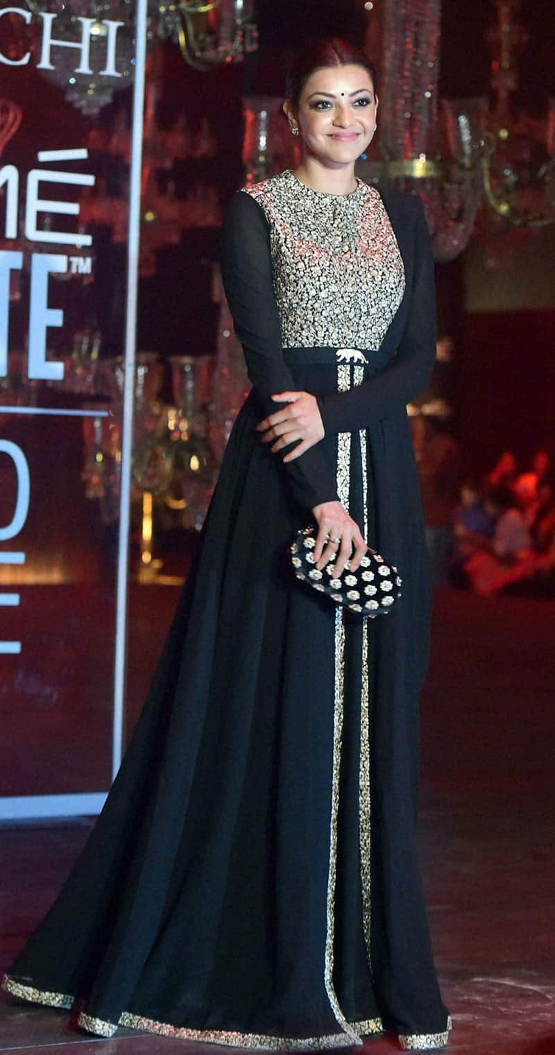 Kajal Aggarwal walks the ramp at the grand finale show of Lakme Fashion Week (LFW) Winter/Festive 2016 in Mumbai