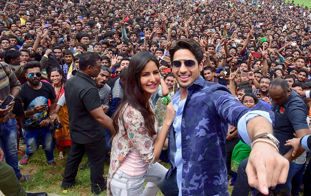 Sidharth Malhotra and Katrina Kaif at a promotional event for their upcoming movie Bar Bar Dekho, in a college