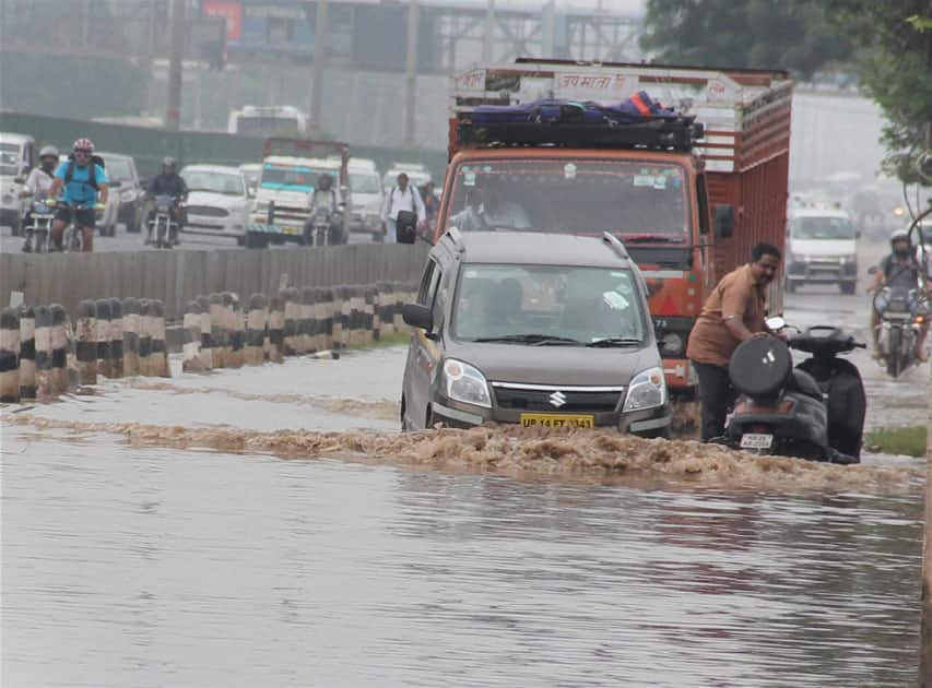 Waterlogged road in Gurgaon
