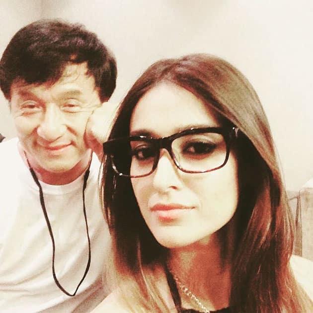 #tbt a year ago when I tried on Jackie Chan's glasses- Ileana D'Cruz