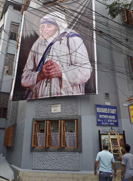 Poster of Mother Teresa in Kolkata