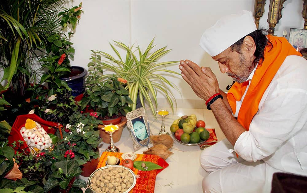 Jackie Shroff prays to Lord Ganesh on the first day of Ganesh Chaturthi at his residence in Mumbai
